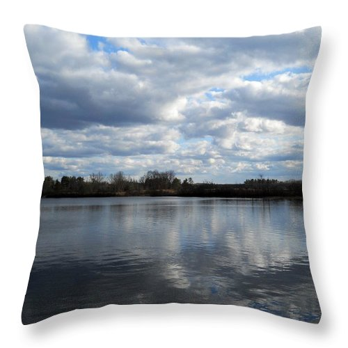 Throw Pillow featuring the photograph Mansfield Hollow Lake by Wolfgang Schweizer