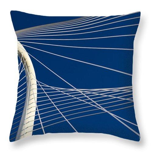 Margaret Hunt Hill Bridge Throw Pillow featuring the photograph Margaret Hunt Hill Bridge by Elena Nosyreva