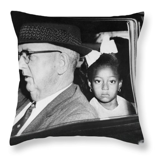 1950's Throw Pillow featuring the photograph New Orleans School Integration by Underwood Archives