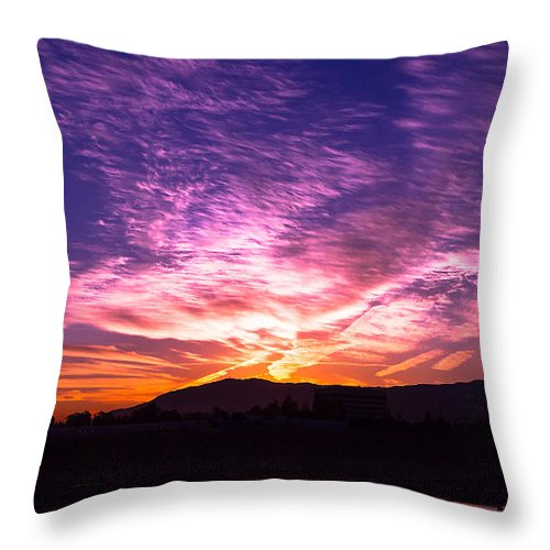 Sunrise Throw Pillow featuring the photograph October Sunrise In The Oc by Hugh Mobley