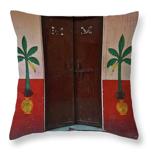 Description Throw Pillow featuring the photograph Old Doors India, Varanasi by Stereostok