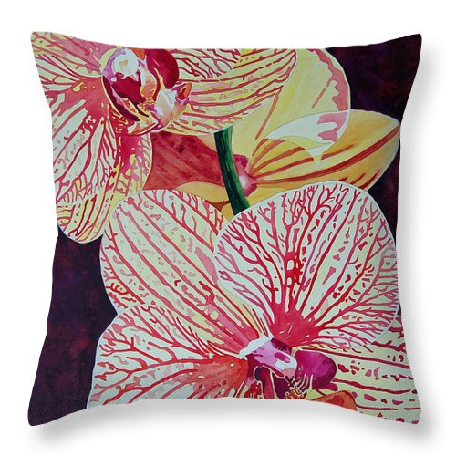 Orchids Throw Pillow featuring the painting Orchids by Terry Holliday