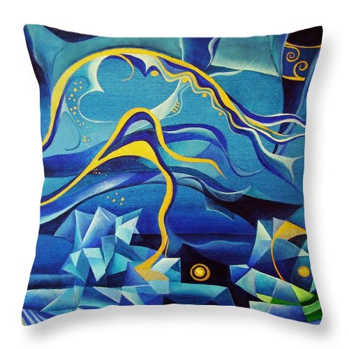 Orpheus Eurydike Greek Mth Claudio Monteverdi Music Abstract Acrylic Throw Pillow featuring the painting Orpheus And Eurydike by Wolfgang Schweizer