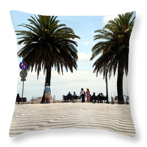 Macro Throw Pillow featuring the photograph Palm Tree Illusion by Dave Byrne