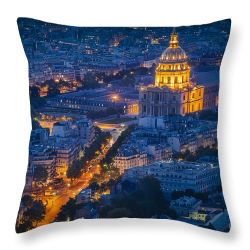 Buildings Throw Pillow featuring the photograph Paris Overhead by Brian Jannsen