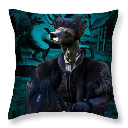 Peruvian Hairless Dog Throw Pillow featuring the painting Peruvian Hairless Dog Art Canvas Print by Sandra Sij