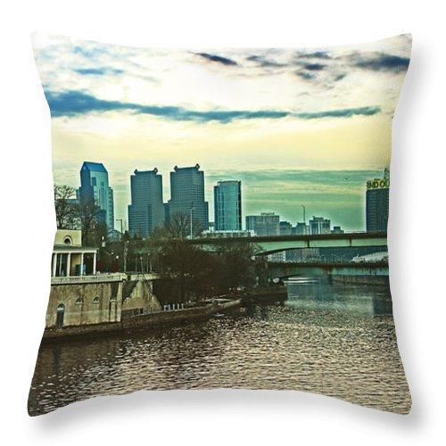 Philadelphia Throw Pillow featuring the photograph Philadelphia Skyline by Tom Gari Gallery-Three-Photography