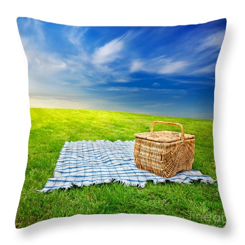 Picnic Blanket And Basket Throw Pillow For Sale By Jo Ann Snover