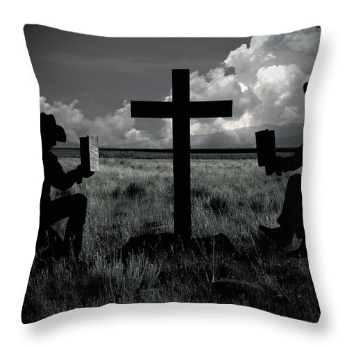 Cowboys Throw Pillow featuring the photograph Praying Cowboys by Christine Till