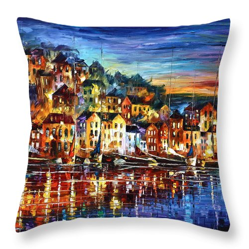 Harbor Throw Pillow featuring the painting Quiet Town by Leonid Afremov