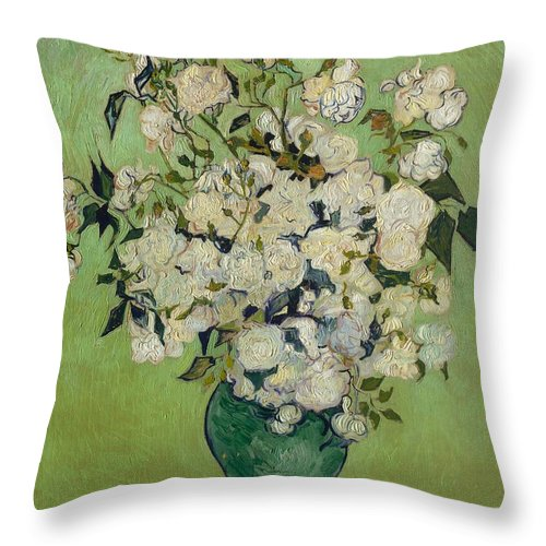 1890 Throw Pillow featuring the painting Roses by Vincent van Gogh