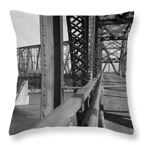 66 Throw Pillow featuring the photograph Route 66 - Chain Of Rocks Bridge by Frank Romeo