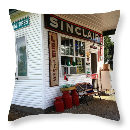 66 Throw Pillow featuring the photograph Route 66 Filling Station by Frank Romeo