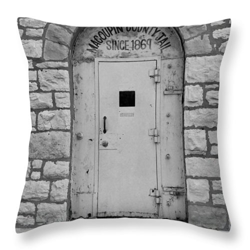 66 Throw Pillow featuring the photograph Route 66 - Macoupin County Jail by Frank Romeo