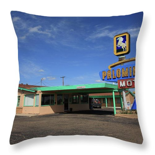 66 Throw Pillow featuring the photograph Route 66 - Tucumcari New Mexico by Frank Romeo