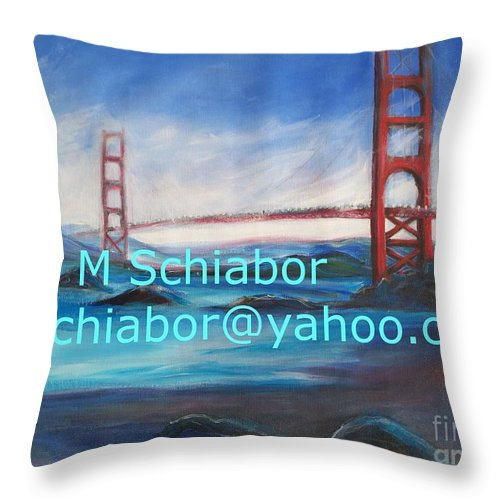California Coast Throw Pillow featuring the painting San Francisco Golden Gate Bridge by Eric Schiabor