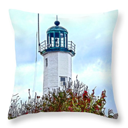 Scituate Lighthouse Throw Pillow featuring the photograph Scituate Light by Carol Sutherland