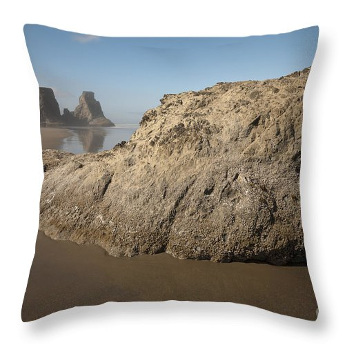 Nature Throw Pillow featuring the photograph Sea Stacks by John Shaw