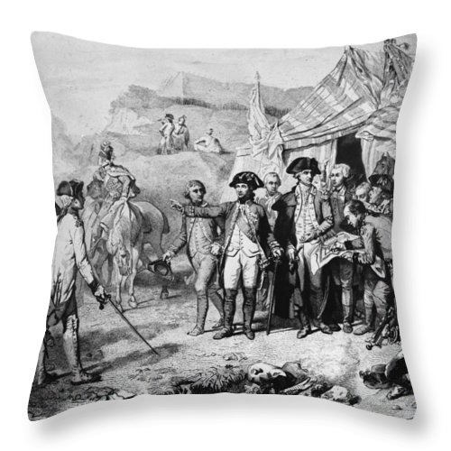 1781 Throw Pillow featuring the photograph Siege Of Yorktown, 1781 by Granger