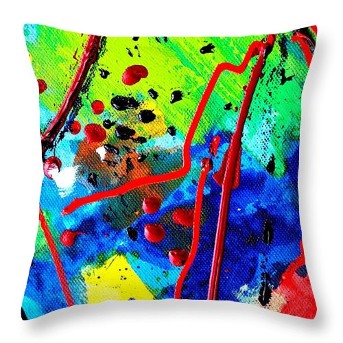 Abstract Throw Pillow featuring the painting Somewhere Over The Rainbow II  Cropped Version by John Nolan