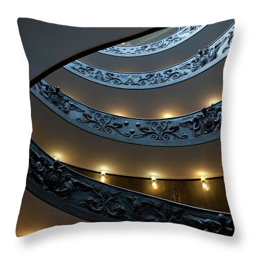 Italian Culture Throw Pillow featuring the photograph Spiral Staircase At The Vatican by Mitch Diamond
