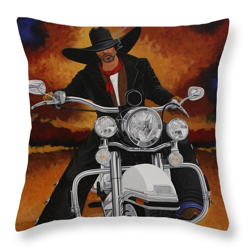 New West Throw Pillow featuring the painting Steel Pony by Lance Headlee