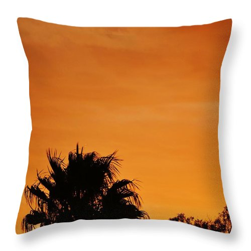 Beautiful; Sunset; Orange; Sky; Palm Tree; Silhouette; Black Throw Pillow featuring the photograph Sunset by Werner Lehmann