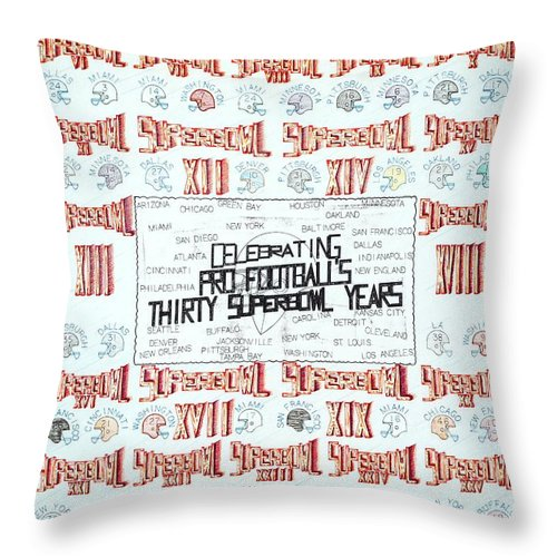 Year Throw Pillow featuring the mixed media Superbowl Poster by Robert Robbins