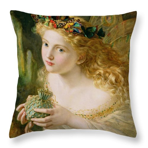 Female Throw Pillow featuring the painting Take The Fair Face Of Woman by Sophie Anderson