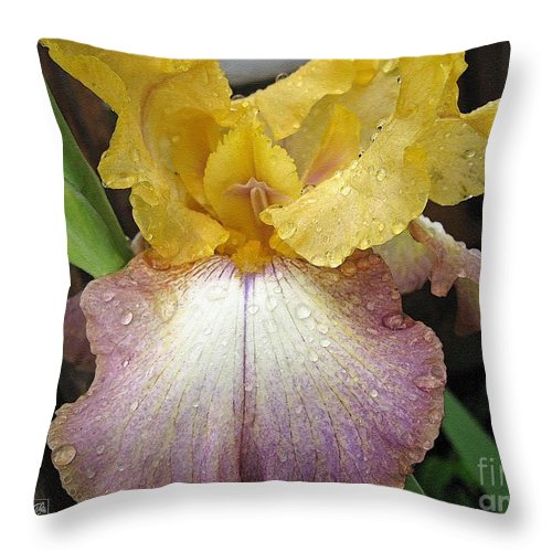 Bearded Throw Pillow featuring the painting Tall Bearded Iris Named Butterfingers by J McCombie