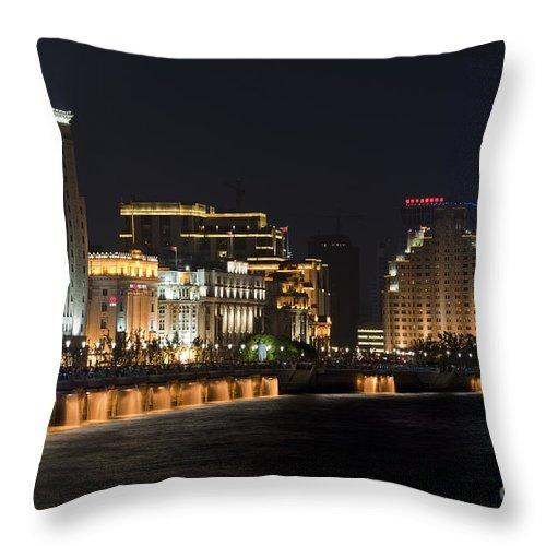 Asia Throw Pillow featuring the photograph The Bund, Shanghai by John Shaw