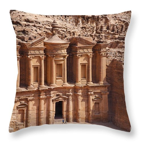 Petra Throw Pillow featuring the photograph The Monastery At Petra In Jordan by Robert Preston