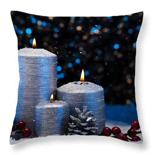Decoration Throw Pillow featuring the photograph Three Silver Candles In Snow by U Schade