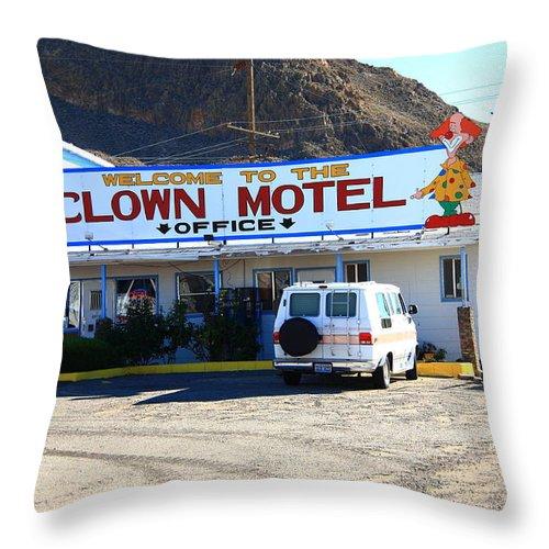 America Throw Pillow featuring the photograph Tonopah Nevada - Clown Motel by Frank Romeo