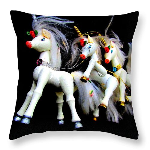 Unicorns Image Throw Pillow featuring the digital art 3 Unicorns Romping by Peter Ogden Gallery