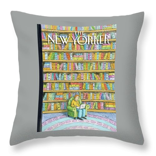 Computer Throw Pillow featuring the painting New Yorker October 18th, 2010 by Roz Chast