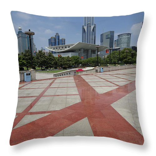 Asia Throw Pillow featuring the photograph View From Peoples Park, Shanghai by John Shaw
