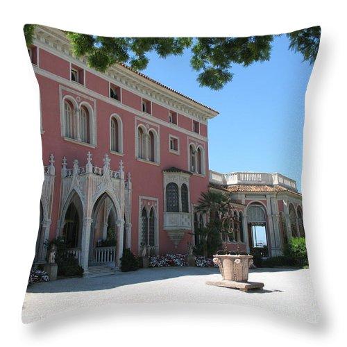 Villa Throw Pillow featuring the photograph Villa Ephrussi De Rothschild by Christiane Schulze Art And Photography