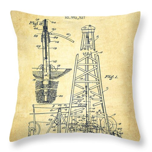 Oil Throw Pillow featuring the drawing Vintage Oil Drilling Rig Patent From 1911 by Aged Pixel
