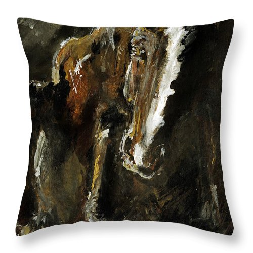 Horse Throw Pillow featuring the painting Wild Heart by Angel Ciesniarska