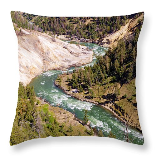 Yellowstone Throw Pillow featuring the photograph Yellowstone River by Jon Berghoff