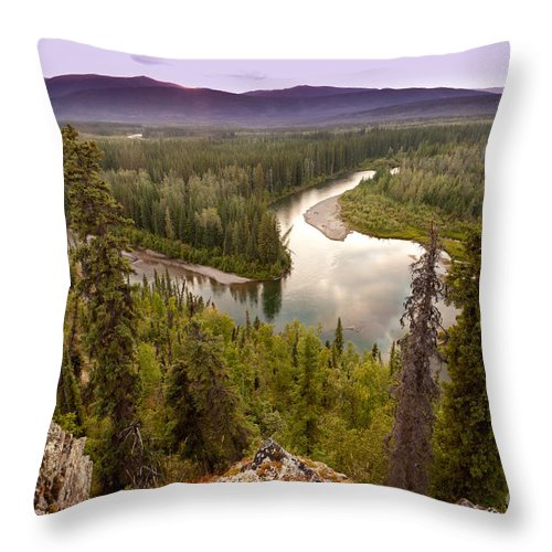 Beautiful Throw Pillow featuring the photograph Yukon Canada Taiga Wilderness And Mcquesten River by Stephan Pietzko
