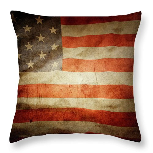 Flag Throw Pillow featuring the photograph American Flag Rippled by Les Cunliffe