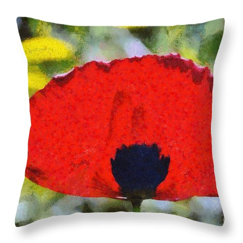 Poppy; Poppies; Corn Poppy; Papaver Rhoeas; Red; Flower; Flowers; Wild; Plant; Spring; Springtime; Season; Nature; Natural; Natural Environment; Natural World; Flora; Bloom; Blooming; Blossom; Blossoming; Color; Colour; Colorful; Colourful; Earth; Environment; Ecological; Ecology; Country; Landscape; Countryside; Scenery; Macro; Close-up; Close Up; Detail; Details; Aesthetics; Esthetic; Esthetics; Artistic; Beautiful; Beauty; Exterior; Outdoor; Outside; Horizontal; Paint; Painting; Paintings Throw Pillow featuring the painting Poppy Flower by George Atsametakis
