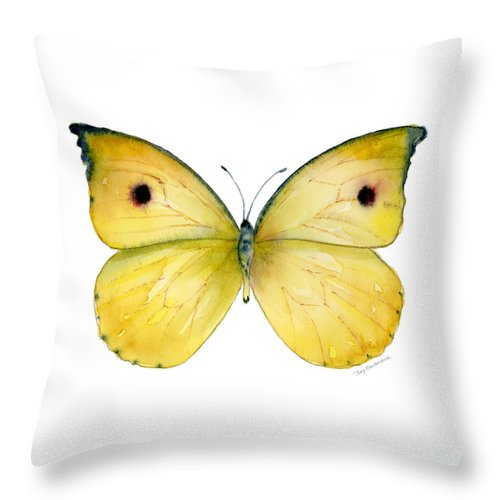 Dercas Throw Pillow featuring the painting 32 Dercas Lycorias Butterfly by Amy Kirkpatrick