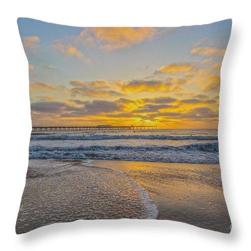 Ocean Throw Pillow featuring the photograph Ocean Beach Pier Sunset by Roman Gomez