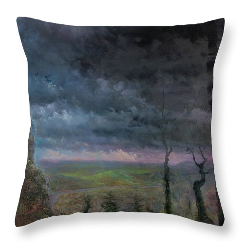 Landscape Throw Pillow featuring the painting Title Unknown by Edward David Lambert