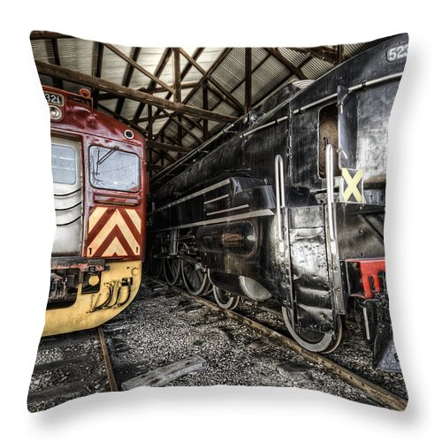 Railway Throw Pillow featuring the photograph 321 And 523 by Wayne Sherriff