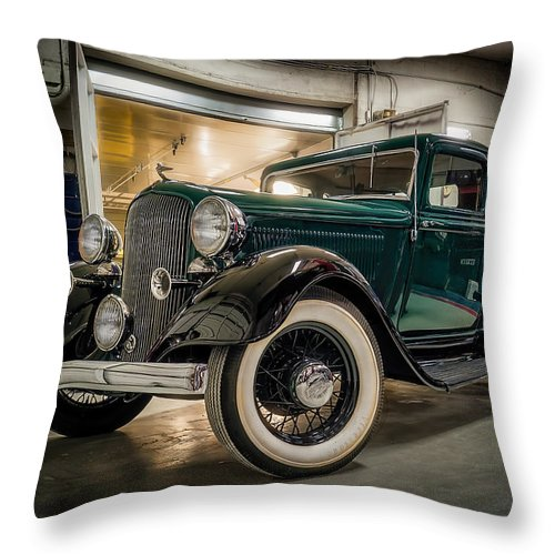 Vintage Throw Pillow featuring the digital art '33 Plymouth by Douglas Pittman