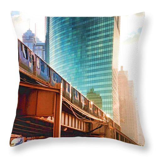 333 Throw Pillow featuring the painting 333 W Wacker Drive by Christopher Arndt